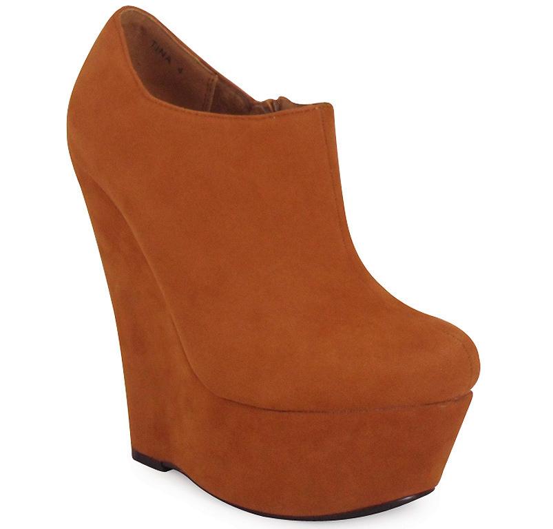 New Womens Ladies Ankle Faux Suede Platform High Heel Zip